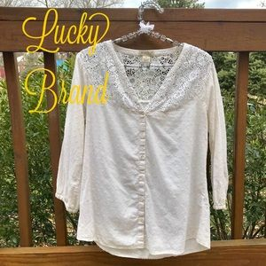 LUCKY BRAND Cotton Embroidered Button Down Top
